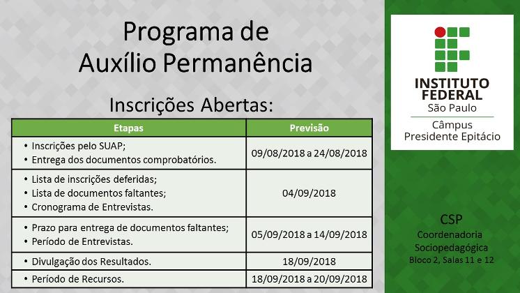 Inscrições abertas para o Programa de Auxílio Permanência (Assistência Estudantil)