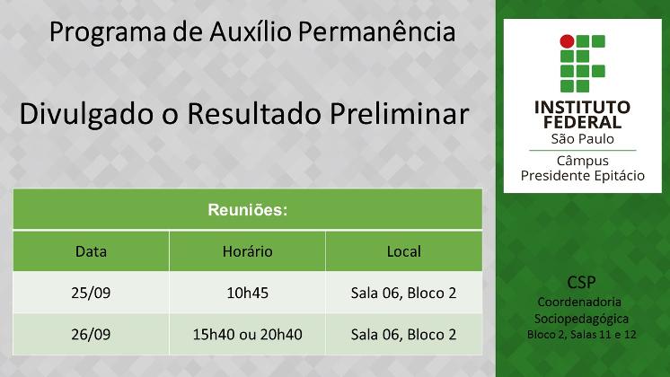 Resultado Preliminar do Programa de Auxílio Permanência - Edital 008/2018 - 2º Semestre